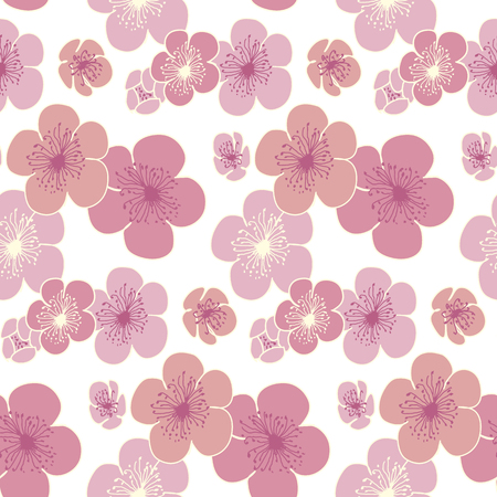 japanese garden: cherry blossom vector pattern for fabric