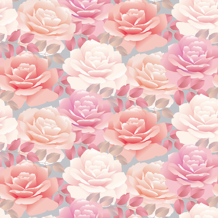 fully: Pale color rose vector template illustration
