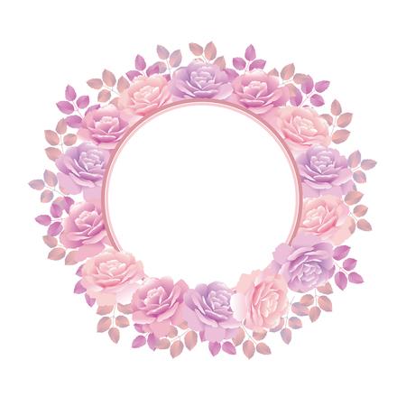 Violet rose wreath background vector illustration