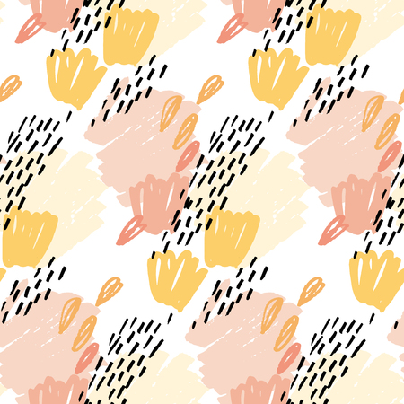 seamless pattern wallpaper. vector illustration for fabric. pencil drawn floral nand abstract elements Illustration