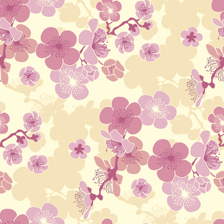 Pastel color cherry blossom vector pattern for fabric