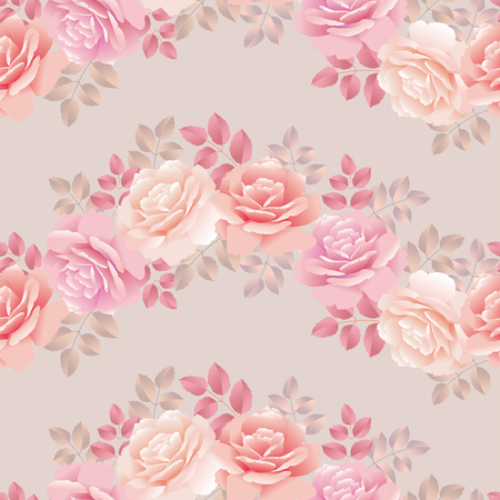 Wave pattern with roses vector illustration