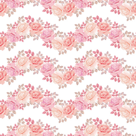 wave pattern with roses on white vector illustration