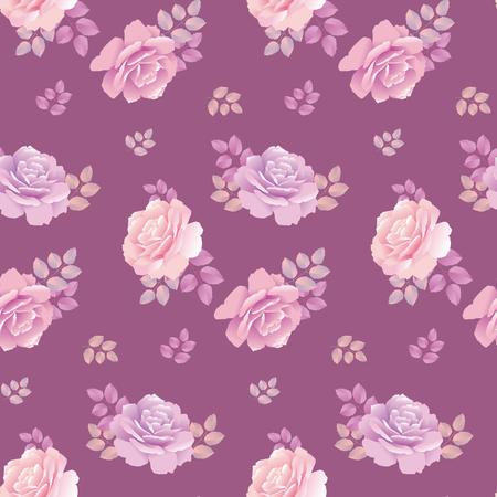 Rose pattern on purple color vector illustration