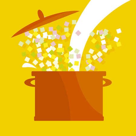 rub: vector illustration of soup pot. simple food vector icon. Illustration