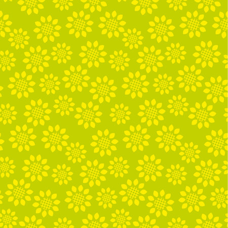 A Vector seamless pattern with sunflower floral. Geometry concept modern repeatable motif for surface design.