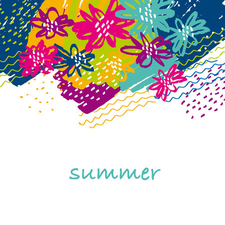 A concept hand drawn floral tropical image in tribal style.  vivid abstract flower modern motif for surface design. Иллюстрация