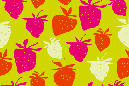 A strawberries seamless pattern vector illustration. summer berries modern style repeatable motif for surface design.