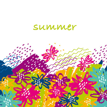 concept hand drawn floral tropical image in tribal style.  vivid abstract flower modern motif for surface design