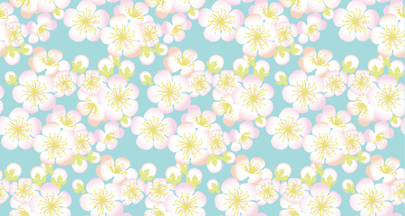 A decorative sakura branch. floral seamless pattern in summer tender colors. Repeatable motif for surface design, background, card, header, web and print projects. Illustration