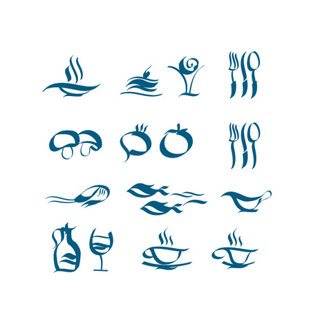 Wave style icon set. food and dish for cafe and restaurant menu. vector illustration