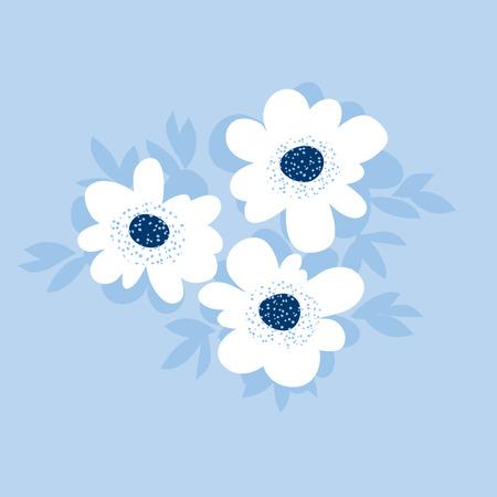 Pale color summer floral pattern for surface design. blue flower vector illustration for print and web projects. Illustration