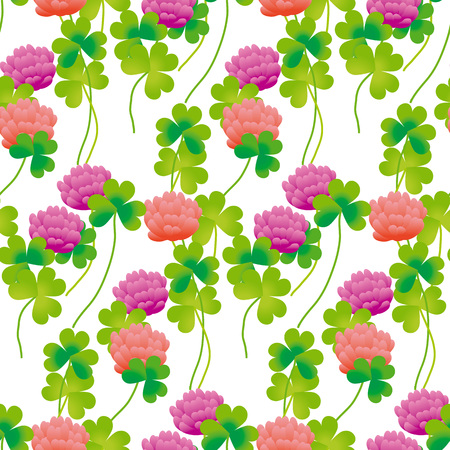 Realistic floral clover seamless pattern vector illustration. Summer meadow flower for surface design^ fabric, wrapping paper, backgrpund Illustration