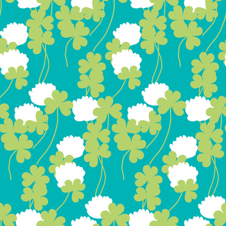 seamless clover: flat floral clover seamless pattern vector illustration. Summer meadow flower for surface design^ fabric, wrapping paper, backgrpund