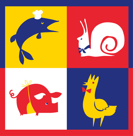concept restaurant poster set with french food - rooster, pork, pike, snail. vector illustration rith cafe signs set Vetores