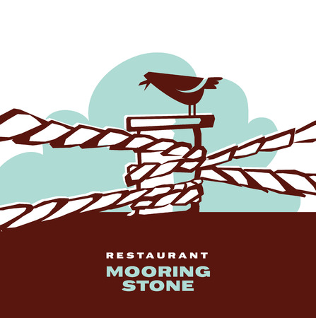 Simple retro-style mooring stone with bird for icon, logo, sign. silhouette vector illustration