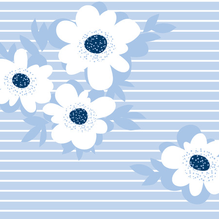 daisy wheel: pale color summer floral pattern for surface design. blue flower vector illustration for print and web projects. Illustration