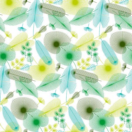 熱帯の概念は、印刷用シームレス パターンと web プロジェクトを残します。モダンな幾何学的な線のスタイルのベクトル図  イラスト・ベクター素材
