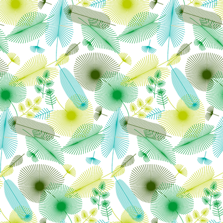 concept tropical leaves seamless pattern for print and web projects. vector illustration in modern geometric line style