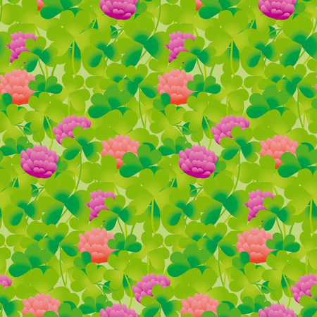 seamless clover: Realistic floral clover seamless pattern vector illustration. Summer meadow flower for surface design^ fabric, wrapping paper, backgrpund Illustration