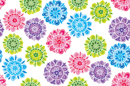 Concept hand drawn life stroke floral illustration. Abstract decorative flower seamless pattern. Image for surface design, header, poster, background in summer vivid color.