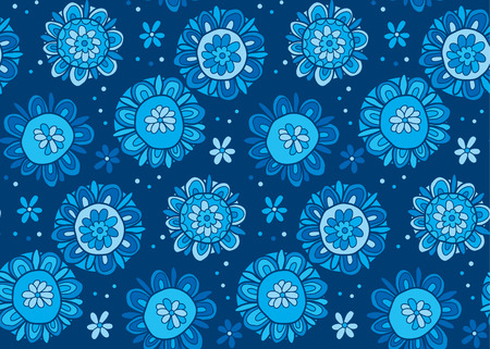 Hand drawn cute snowflake illustration. Abstract decorative flower like snow seamless pattern. Image for surface design, header, poster, background in winter blue color. Illustration