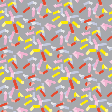 Yellow and rosy rectangle geometry seamless pattern vector illustration surface design for print and web. Memphis post-modernist style motif. Modern tech textile print.