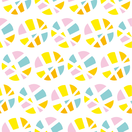 Pop art repeatable fabric sample. Modern geometry seamless pattern vector illustration. Surface design for print and web in yellow, rosy and blue color. Funky,  dynamic summer motif.