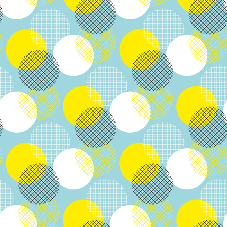 Summer color geometry seamless pattern vector illustration surface design for print and web. Memphis post-modernist style motif. Pop art repeatable fabric sample. Illustration