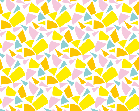 scattering: Modern geometry seamless pattern vector illustration. Surface design for print and web in yellow, rosy and blue color. Funky,  dynamic summer motif. Modern tech textile print.