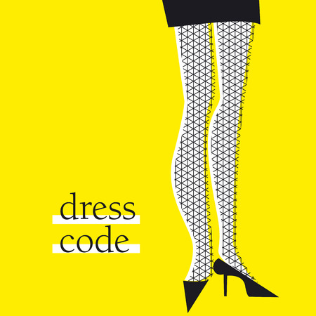 Yellow and black woman legs cartoon for poster, cover, card. Creative vector illustration.