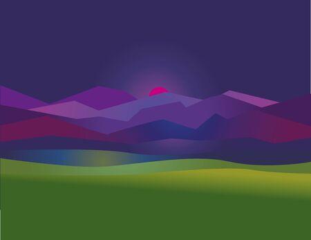 Concept simple night mountain sunset landscape illustration for web and print design. Illustration