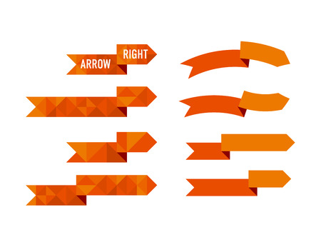 Orange polygon arrow set illustration for web and print design.
