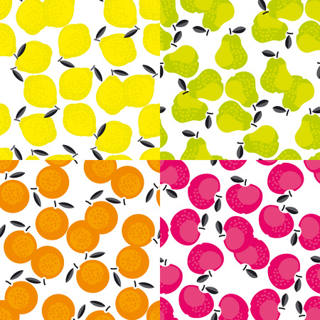 Simple cute summer fruit icon set for labels, surface design.