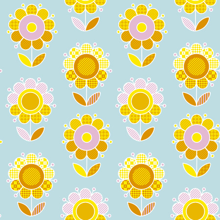 Retro naive flower summer color pattern for surface design. Illustration