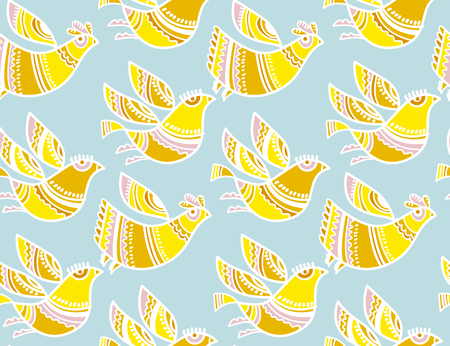 Decorative birds summer color pattern for surface design.
