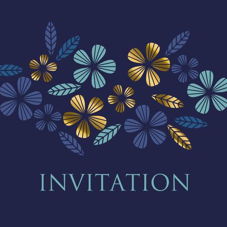 luxo: Luxo de estilo dourado, licença tropical e elemento floral para design festivo. Ilustração