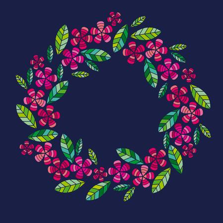Decorative leave and flower wreath design element.