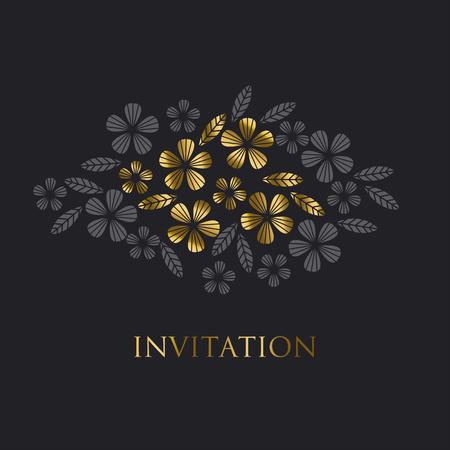 Luxury gold style tropical leave and flower element for festive design. Ilustração Vetorial