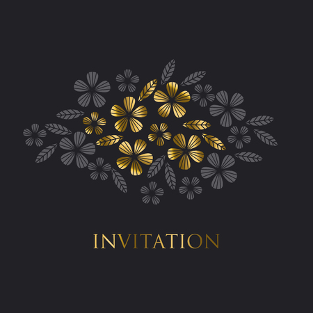 luxo: Luxury gold style tropical leave and flower element for festive design.