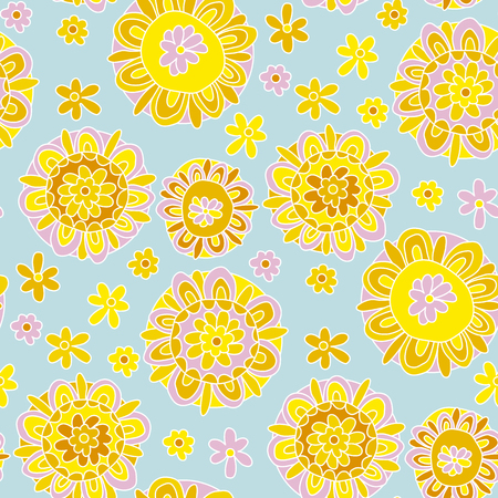 Concept decorative marigold flower style. Illustration
