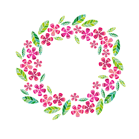 Decorative leave and flower wreath design element.
