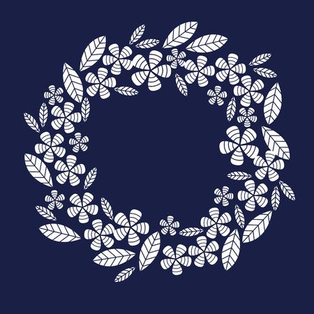 palm wreath: Decorative leave and flower wreath design element.