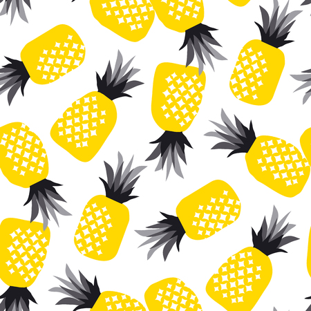 Summer decorative pineapple seamless pattern for surface design. vector illustration of cool summer fruit for background, fabric, poster, wrapping paper 矢量图像