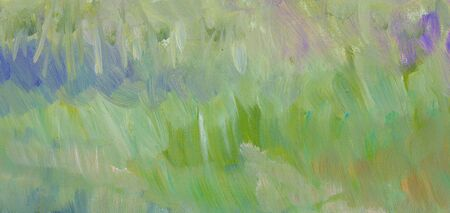 pale colors: Green grass paint texture. Hand drawn background. Raster illustration.