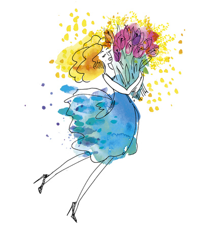 Happy young woman in blue sky dress with big bouquet of pink flowers. Hand drawn watercolor illustration with sketch detail.