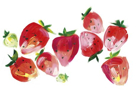 equatorial: Red sketch style strawberry for menu, pattern, surface design. Hand drawn paint illustration.