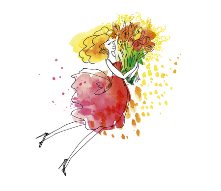 Blond young woman with big bunch of spring flowers. Hand drawn watercolor illustration with sketch detail.