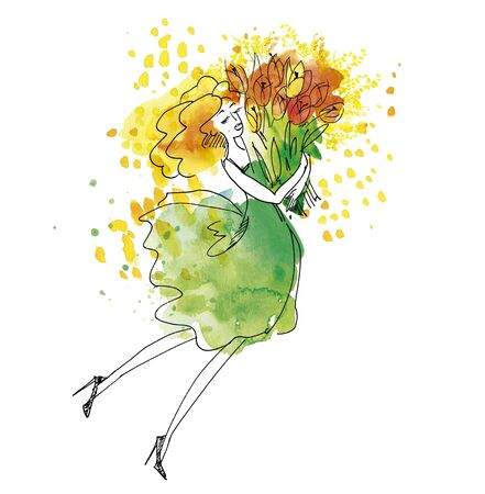 Blond young woman in green dress with big bouquet of tulip flowers. Hand drawn watercolor illustration with sketch detail. Stock Photo