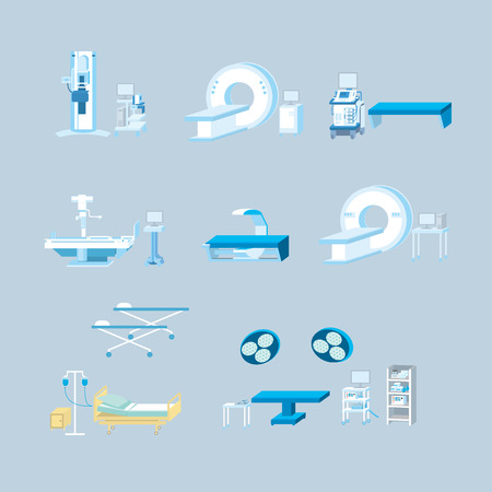 Medical equipment simple vector illustration set